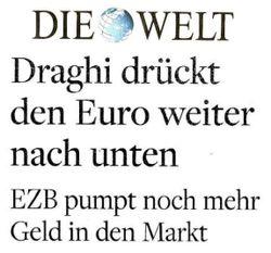 Eurokrise - Draghi drückt den euro weiter nach unten